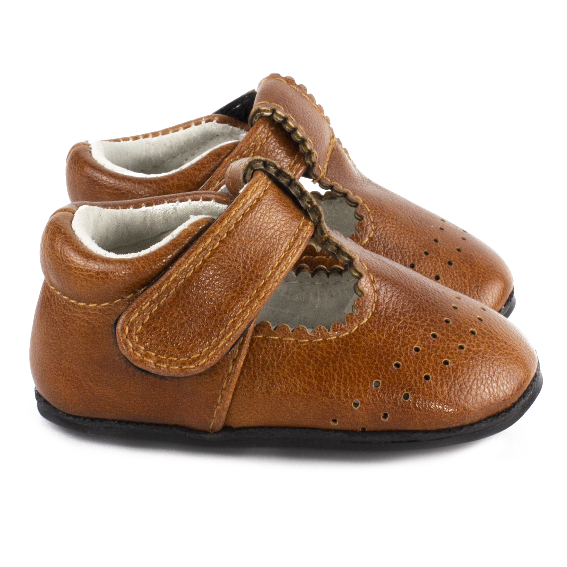 antique brown t-strap moc